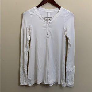 lululemon athletica Tops - Lululemon White Loose Fit Henley Rulu Fabric EUC 4